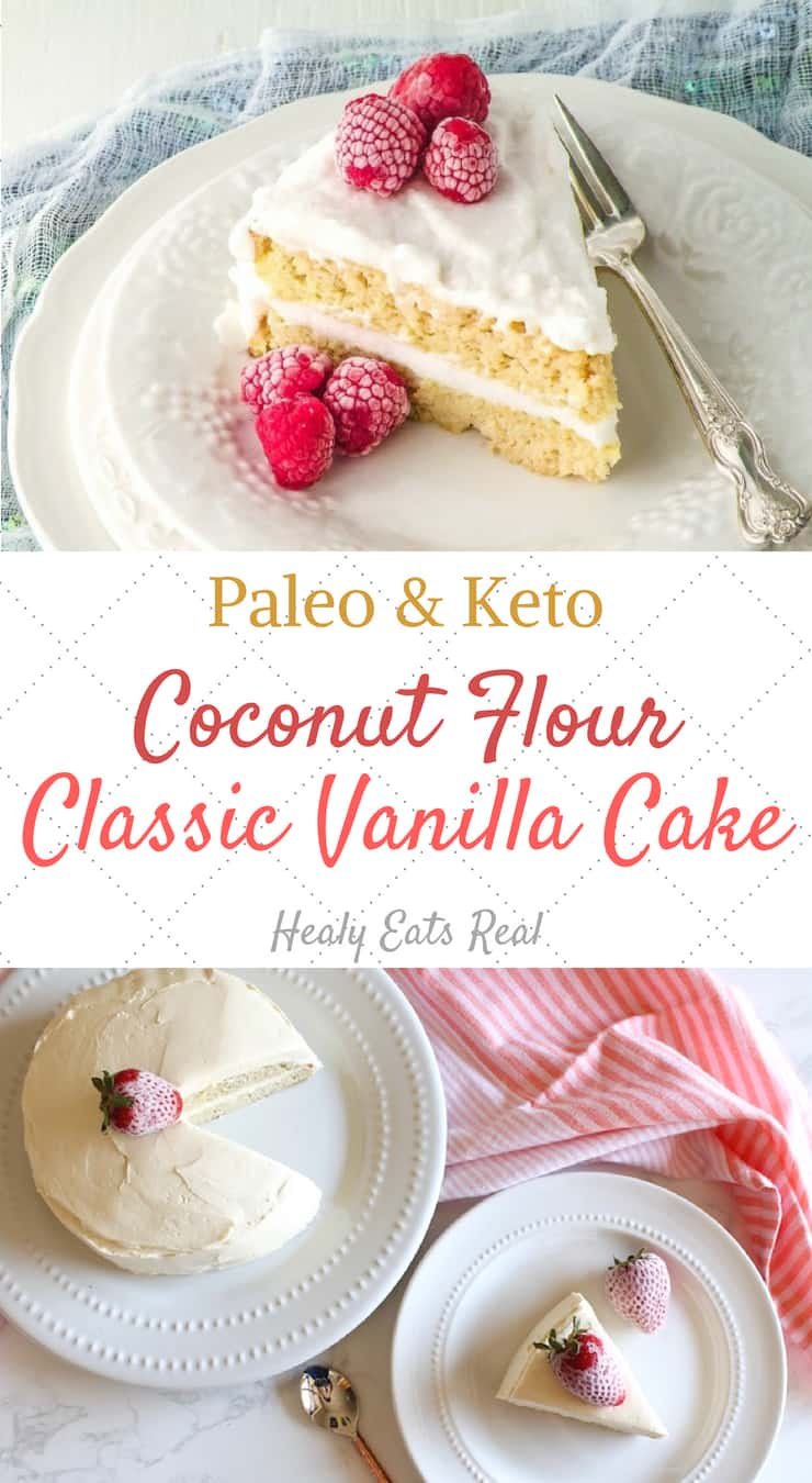 Classic Vanilla Coconut Flour Cake (Paleo & Keto)- This classic vanilla coconut flour cake recipe is light, fluffy and delicately sweet. Its paleo, keto and the perfect healthy dessert for any occasion including birthdays, holidays and more! #coconutflour #cake #keto