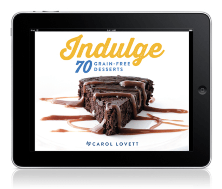 ipad with indulge cookbook cover with chocolate cake on it