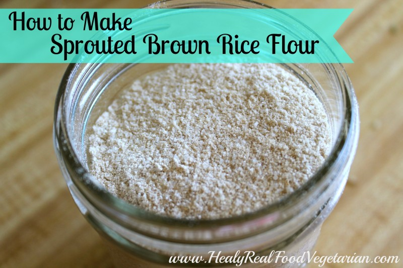 A close up of sprouted brown rice flour in a mason jar