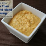 Dairy free thousand island dressing in a square white bowl