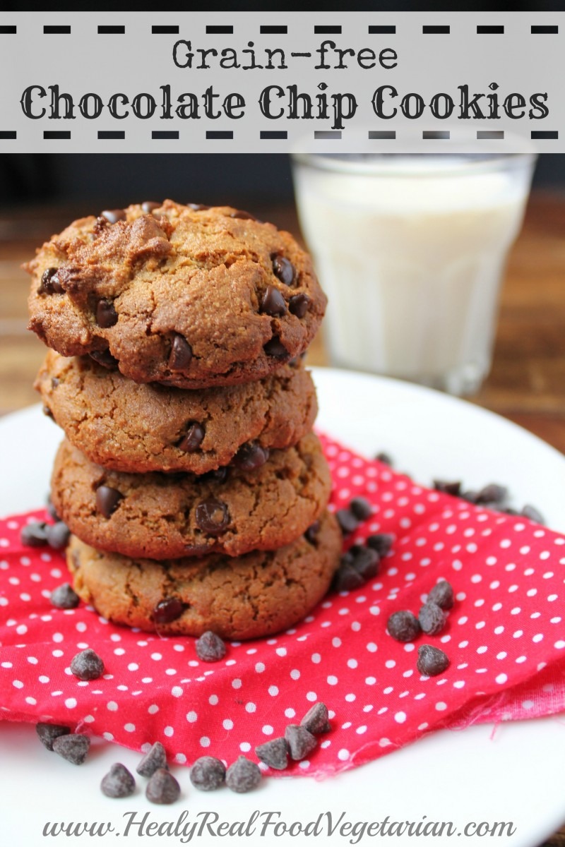 Almond Flour Chocolate Chip Cookies. These grain free cookies are the best I've ever tried! Made with a mix of coconut and almond flour they're healthier than regular or store bough cookies and taste even more delicious. #cookies #healthycookies #chocolate #chocolatechipcookies #healyeatsreal