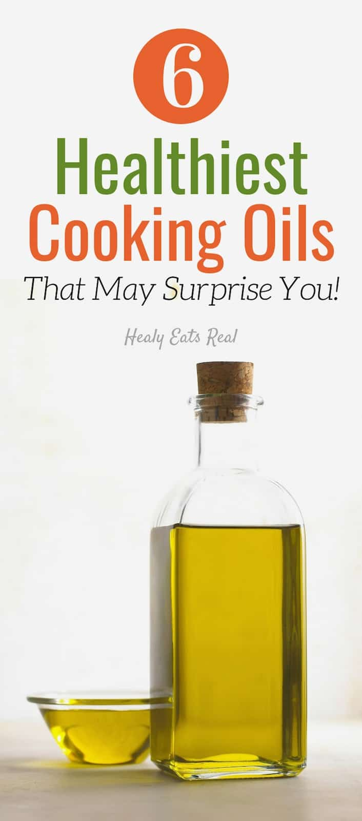 6 Healthiest Cooking Oils - What are the healthiest cooking oils? You've probably heard about heart health, trans fats, saturated fats and smoke points. This post will clear it all up! #oils #cooking #fats