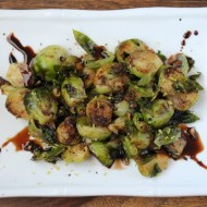 Lemon Garlic Brussels Sprouts with Balsamic Glaze
