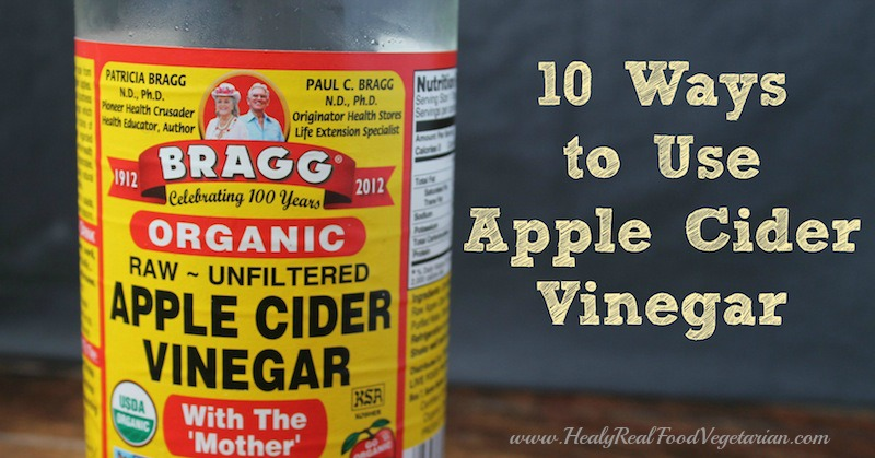 A photo of a bottle of apple cider vinegar and 10 ways how to use it written in text beside it