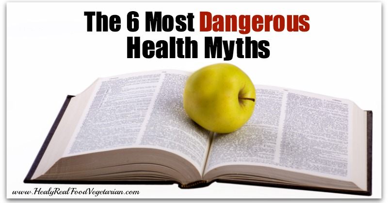 A graphic with an open book and the 6 most dangerous health myths written at the top
