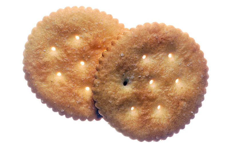 A close up of two Ritz Crackers on a list for the 6 most dangerous health myths