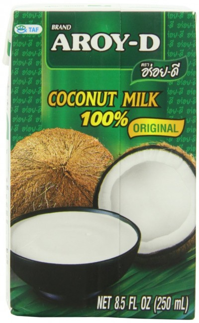 A photo of AROY-D coconut milk used as part of a real food basics beginners guide