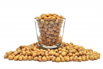 Soy beans in a glass and spilling over onto a white surface on a list for the 6 most dangerous health myths