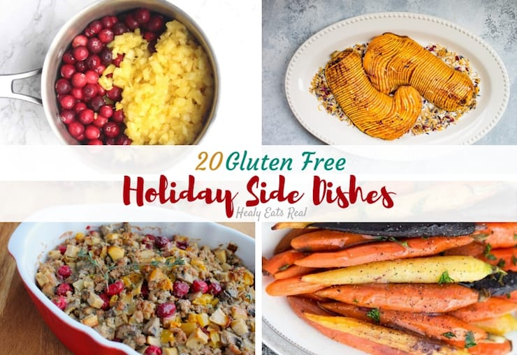 Collage of gluten free side dishes for holidays