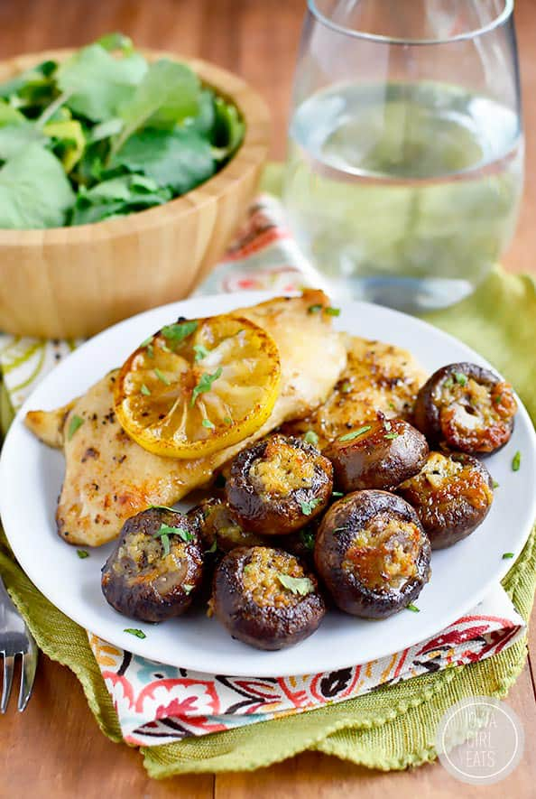 Garlic butter roasted mushrooms on a plate