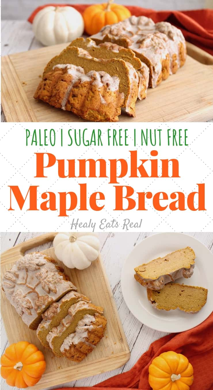 Healthy Spiced Paleo Pumpkin Bread Recipe (Sugar Free, Nut Free)- This healthy paleo pumpkin bread is a delicious sugar free fall treat. This recipe makes a moist thick bread with flavors of maple, warm spices and rich pumpkin. #pumpkin #sugarfree #paleo