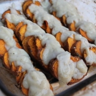 Roasted Sweet Potatoes with Cauliflower Cream Sauce