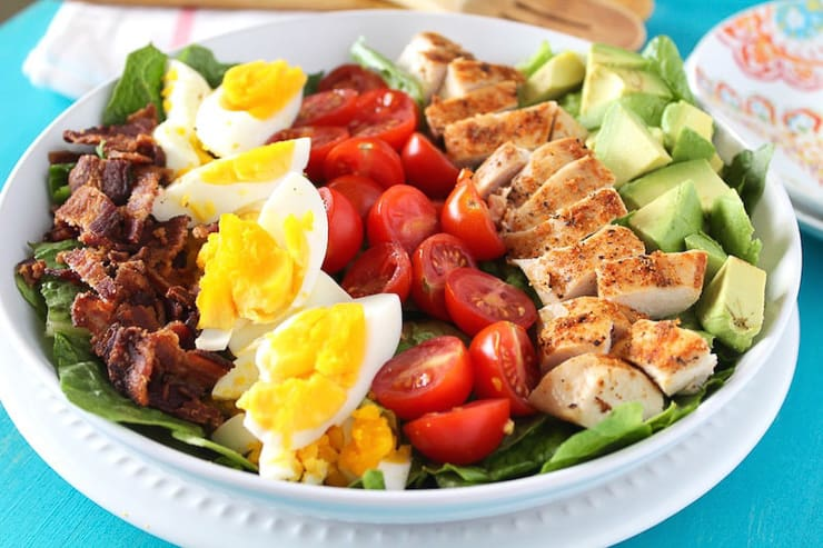 A side shot of a Cobb Salad Recipe