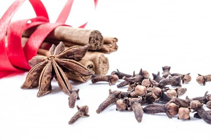 Cinnamon sticks with red ribbon around them next to clove and star anise