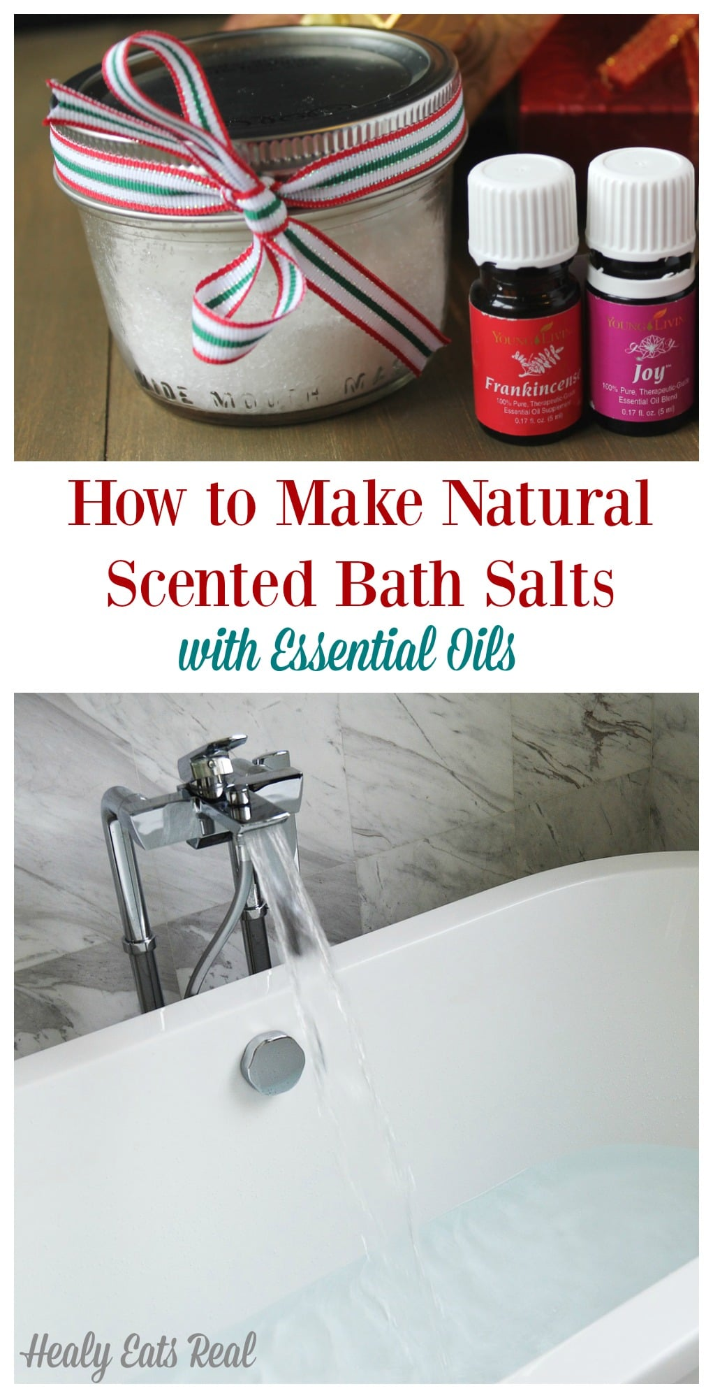 How to Make Bath Salts with Essential Oils - I'm so excited to share with you how to make bath salts since it is so quick and easy to do! You can customize it to whichever scent you'd like. #bath #bathsalts #salts #essentialoils #healyeatsreal