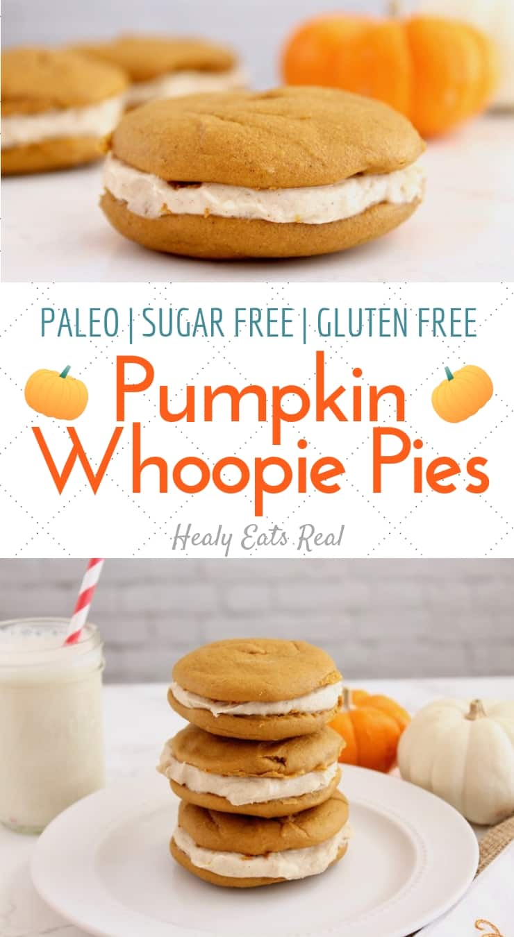 Pumpkin Whoopie Pie Recipe (Paleo, Sugar Free, Gluten Free)- This paleo pumpkin whoopie pie recipe is the perfect easy gluten free and sugar free dessert! The outer cookies are soft and sweet with the dynamic flavor of pumpkin and spices while the filling is rich and creamy with a hint of cinnamon. #pumpkin #paleo #sugarfree