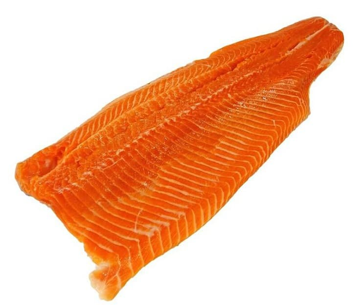 A photo of a fillet of salmon with a white background