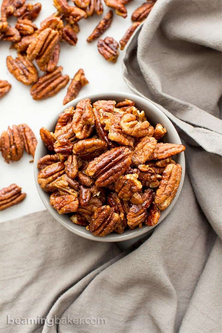 Roasted maple nuts in a large bowl