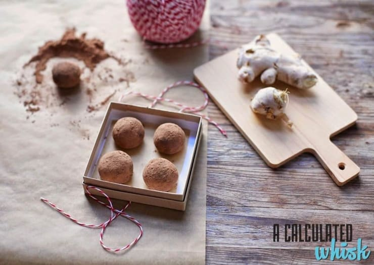 Chocolate ginger truffles in a box with string at the side