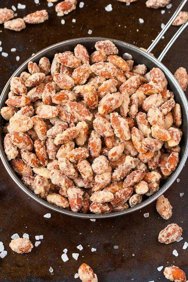 Candied almonds in a large bowl