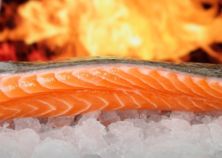 A close up of raw pink salmon filet on ice