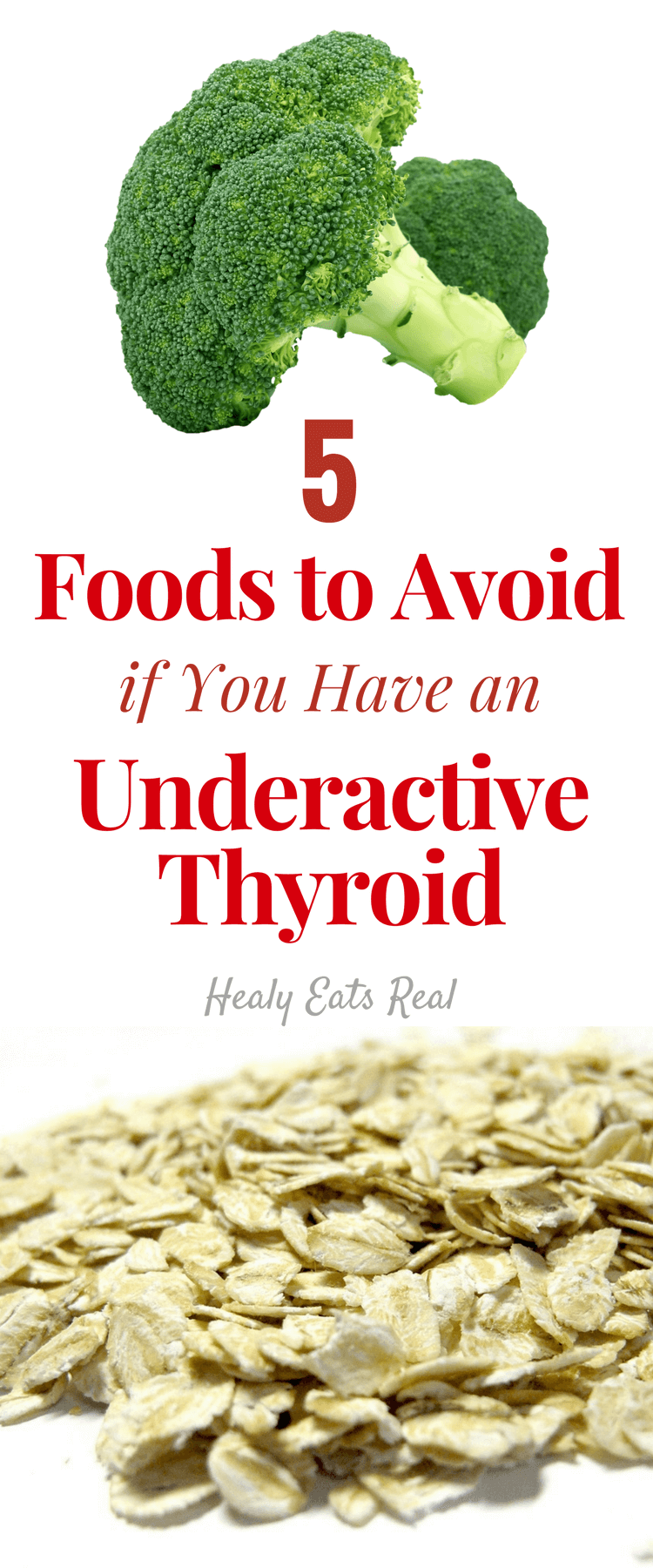 5 Foods to Avoid For An Underactive Thyroid Diet- The right healthy underactive thyroid diet that helps with your symptoms can be tough to find. The secret to improve your hypothyroidism and your overall well-being is to change your diet and avoid the foods that are causing the most harm. #thyroid #hypothyroidism #diet