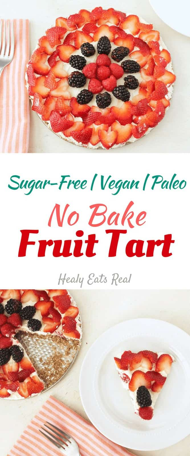 No Bake Fruit Tart Recipe (Sugar-Free, Vegan & Paleo)- This no bake fruit tart recipe has a nutty crust, rich creamy filling all topped off with bright sweet berries. It's also sugar free, vegan, gluten free, dairy free and paleo! It has become one of my favorite healthy desserts to serve at parties or holidays. #tart #fruit #sugarfree