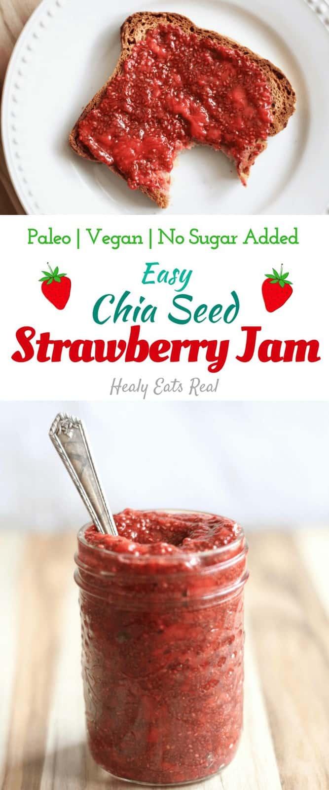 Quick Chia Seed Strawberry Jam Recipe (Paleo & Vegan) - This quick and easy chia seed strawberry jam recipe is paleo, vegan and packed with fruity goodness...all without sugar or pectin! #jam #strawberry #chia #preserves #healyeatsreal