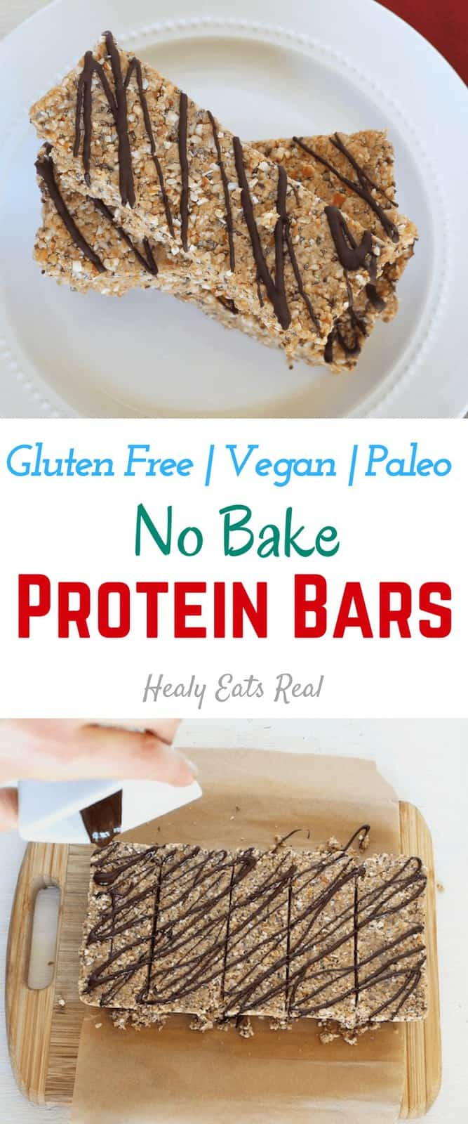 No Bake Protein Bars Recipe (Paleo, Vegan)-These no bake protein bars are paleo, vegan and gluten free. They make a delicious quick and easy high protein breakfast that will help keep you full! #proteinbars #paleo #nobake