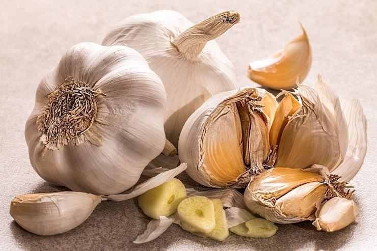 Bulbs of garlic on a grey surface