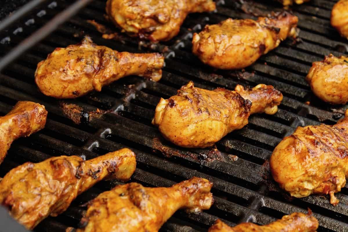 chicken tandoori on a bbq grill