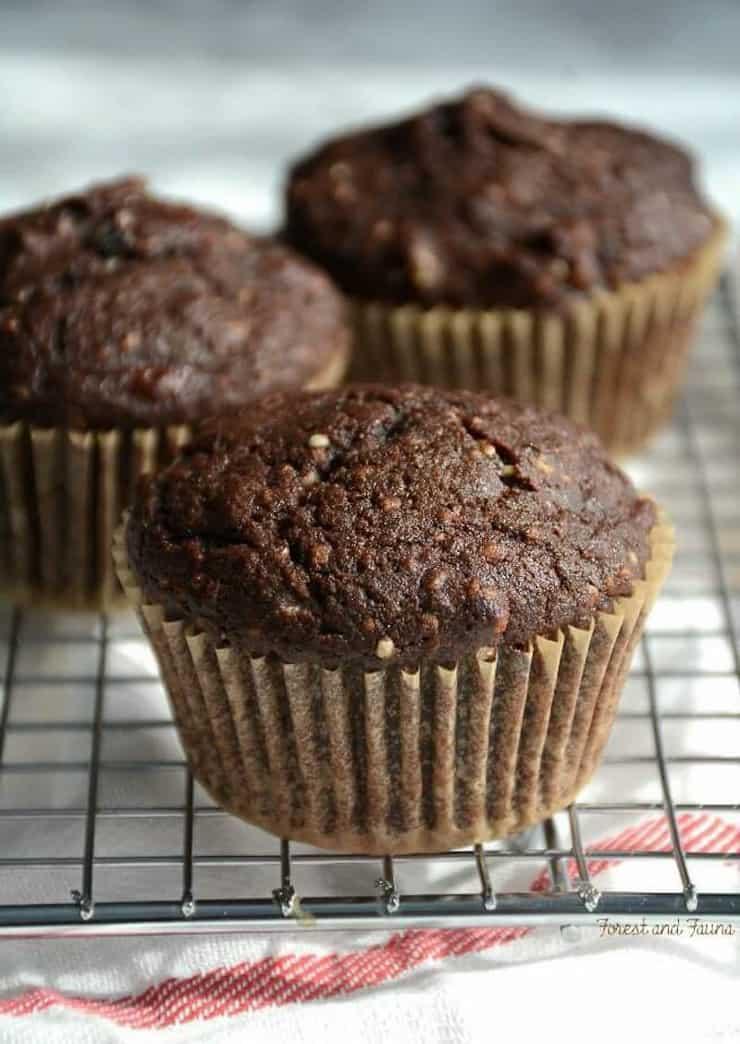 close up of hemp chocolate muffins