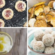 A collage image of four healthy snack ideas