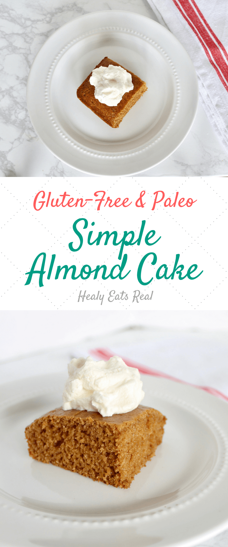 Simple Almond Cake (Paleo & Gluten-Free)-This simple paleo and gluten free almond cake is a great moist, delicious, low-sugar and easy dessert recipe to make from scratch. Made from almond flour and a few other paleo and gluten free flours, this cake has a great texture!