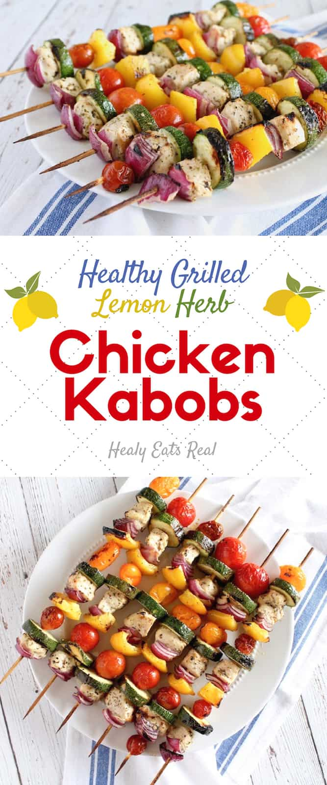 Lemon Herb Chicken Kabob Recipe (Keto & Paleo) - This marinated lemon herb chicken kabob recipe is the perfect summer recipe for the BBQ grill or oven! It's easy to make and bursting with fresh flavors. #kabobs #chicken #keto