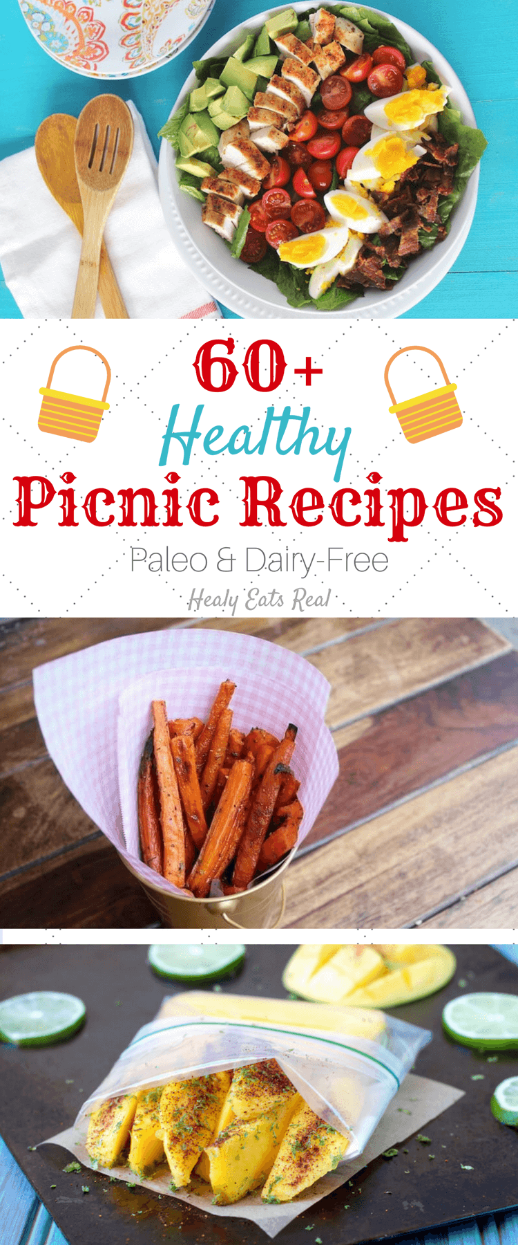 60+ Healthy Picnic Recipes (Paleo & Gluten-Free)- These healthy picnic recipes are all gluten free, dairy free and paleo. Each one of these delicious dishes is easy to pack up and take on-the-go for a perfect summer picnic!