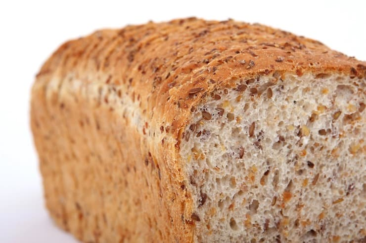 Close up loaf of seeded bread
