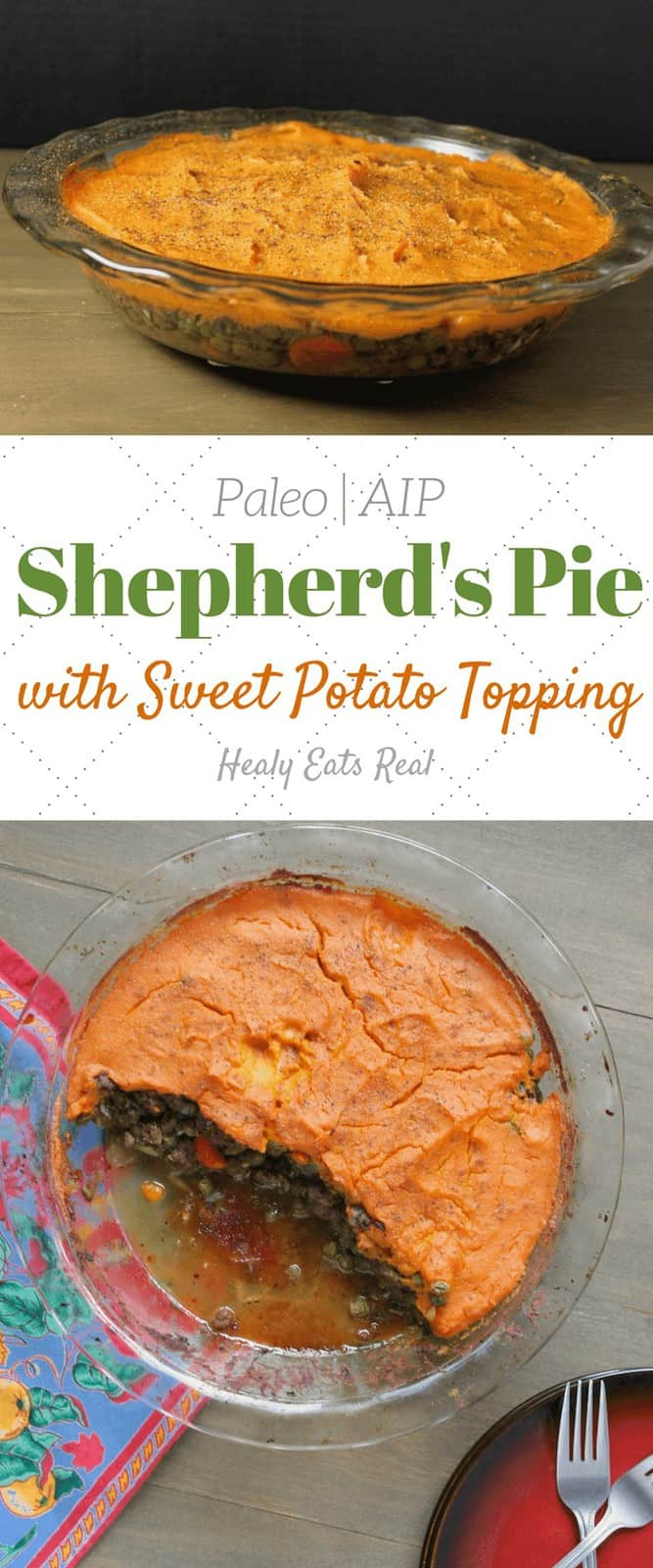 Shepherds Pie Recipe with Sweet Potato Topping (Paleo, AIP)- This shepherds pie recipe is the best simple classic fall or winter meal. Made with grassfed ground beef and veggies, it's a hearty, affordable and healthy dinner staple.