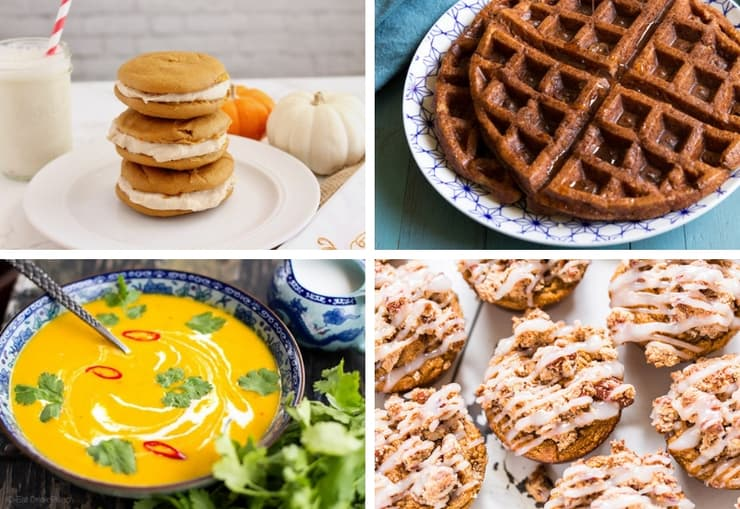 Collage of different healthy paleo pumpkin recipes