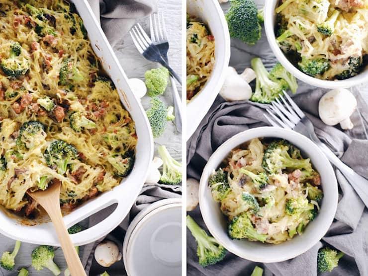 White casserole dish filled with spaghetti squash casserole