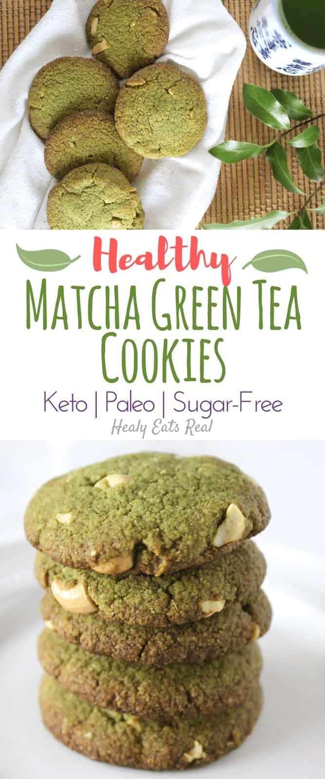 Healthy Matcha Cookies (Keto, Paleo & Sugar Free) - These healthy matcha cookies are such an easy simple treat! They are keto and gluten free and taste a bit like almond flour shortbread with a green tea kick. #matcha #cookies #paleo #dessert #healyeatsreal