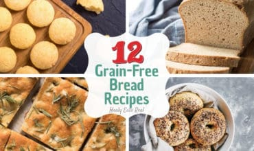 Collage of grain free bread recipes including bagels, sandwich bread, flatbread and rolls