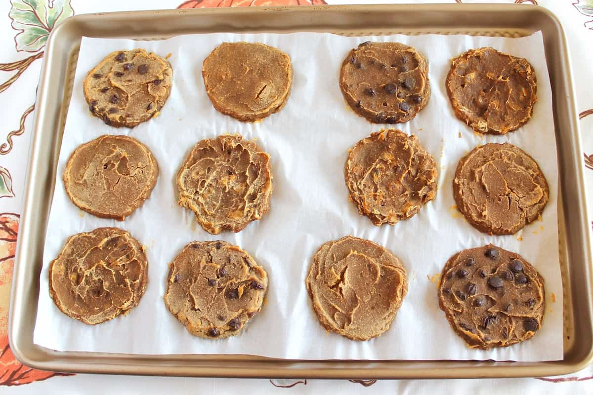 Overhead view of baked banana pumpkin cookies on baking sheet