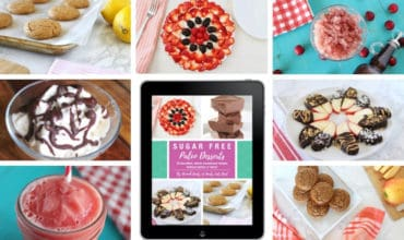 Collage of various colorful sugar free paleo desserts with ipad ebook cover in middle