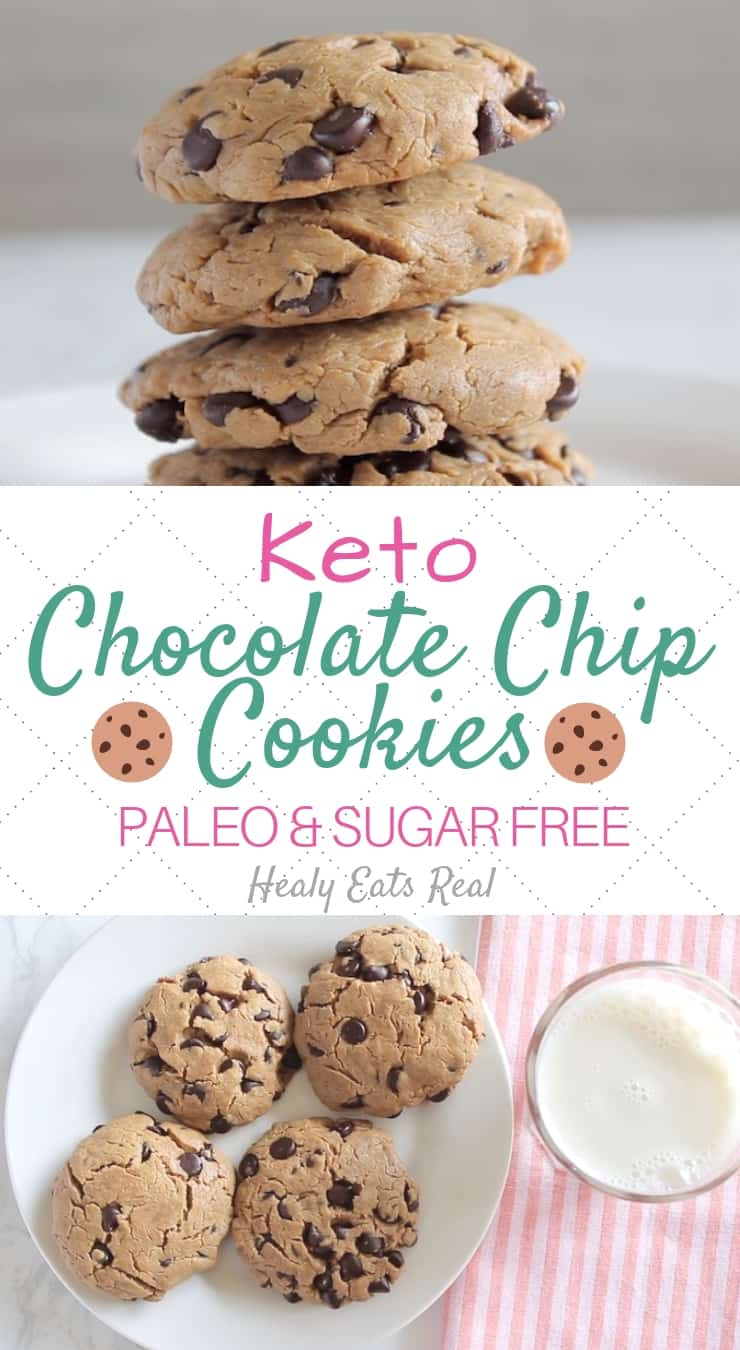 Easy Keto Chocolate Chip Cookies (Paleo & Sugar Free)-  There's nothing quite like keto chocolate chip cookies to brighten your day. This stevia sweetened recipe creates something between a chewy and crispy cookie! This recipe is totally sugar-free and low carb. I only use a bit of stevia to sweeten it. This is an easy flourless recipe with just a few ingredients. #cookies #keto #sugarfree