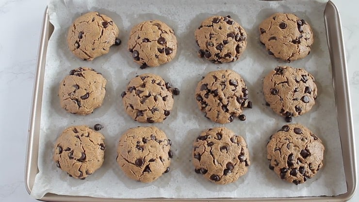 Overhead view of keto chocolate chip cookies on baking sheet