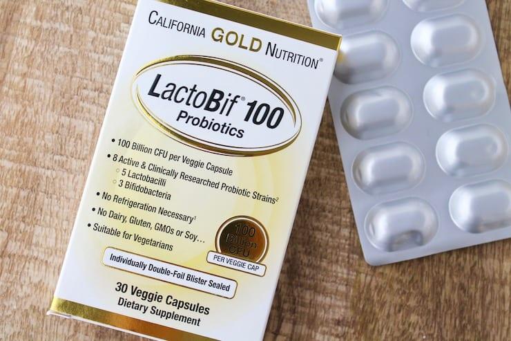 Box of LactoBif 100 probiotics on a wooden table