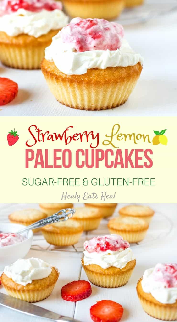 Strawberry Lemon Paleo Cupcakes (Sugar Free & Gluten Free)