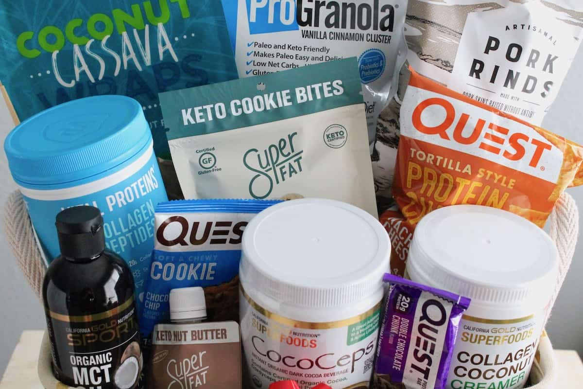 Keto gift basket filled with various keto snacks