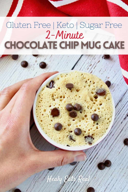 2-Minute Chocolate Chip Gluten Free Mug Cake (Keto & Paleo)